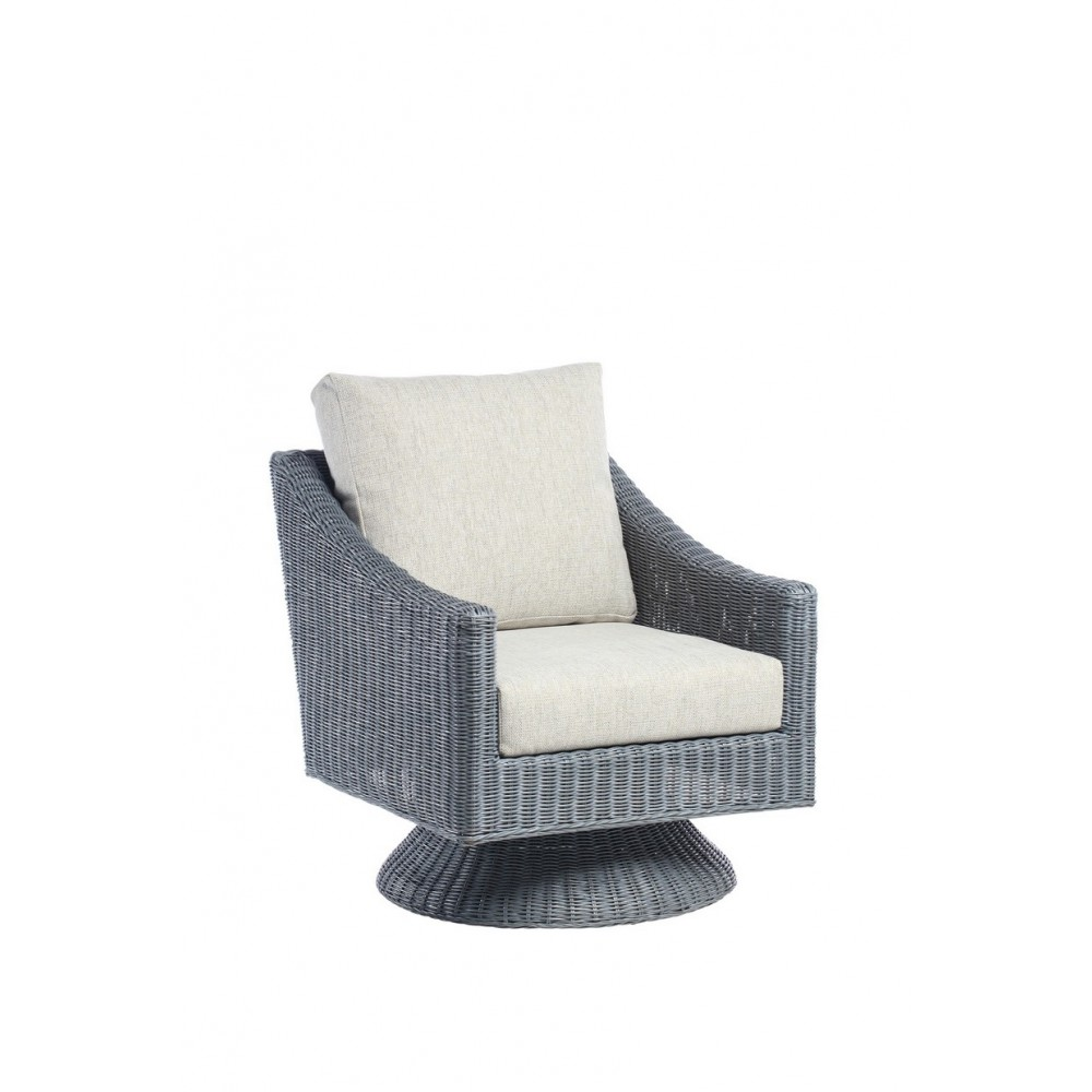 Desser Dijon Swivel Armchair Grey Frame
